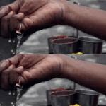 Why sprinkle water around food before eating